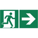 Rettungszeichen Rettungsweg rechts nachleuchtend