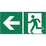 Rettungszeichen Rettungsweg links nachleuchtend