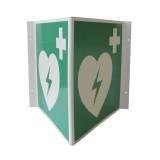 Rettungszeichen AED Winkelschild